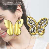 Neoglory Austria Rhinestone Fashion Butterfly Stud Earrings for Women 14K Gold Plated 2015 New Brand Accessories Charm JS6