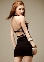 Women Backless Dress Above the Knee Bodycon Sexy Woman Dresses Halter Club Dress Black / Pink