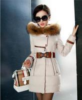 2014 New women winter jacket Elegant fashion Large Raccoon Fur Collar metal belt Zipper Slim Hooded coat Women duck down jacket