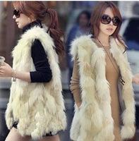 2014 Winter Fashion Waistcoat for Women Fake Fur Sleeveless Faux Vest Coat With V-Collar Long Waistcoat Jacket Outwear
