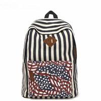 "Vintage style striped pattern Canvas printing women Backpacks men's travel bag school bag for girls mochila feminina 15"" laptop"