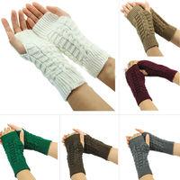 1pair Fashion Women Knitted Fingerless Winter Gloves Unisex Soft Warm Mitten 7 Colors 2Kinds