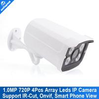 720P 1.0mp Real-time 25fps bullet mini ip camera 1280*720 ONVIF2.3 IR-CUT 4pcs array LED waterproof security surveillance camera