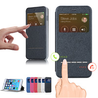 Smart Front Window View Case For iPhone6 5.5 Cover PU Leather Flip For iPhone 6 Plus Case Magent Sliding Answer Call Function