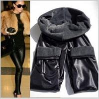 Fashion leather pants Winter Warm Double layer Leggings PU Elastic trousers plus size leggins black Slim classic fashion flat