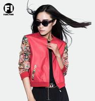 Fancyinn Brand 2014 New Arrival Women's Fashion Autumn Baseball Red Folk Style Coat Embroidery Stitching PU Leather Jacket
