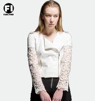 Fancyinn 2014 Autumn Europe New White Lace Sleeve Splicing PU Coat Women Jacket