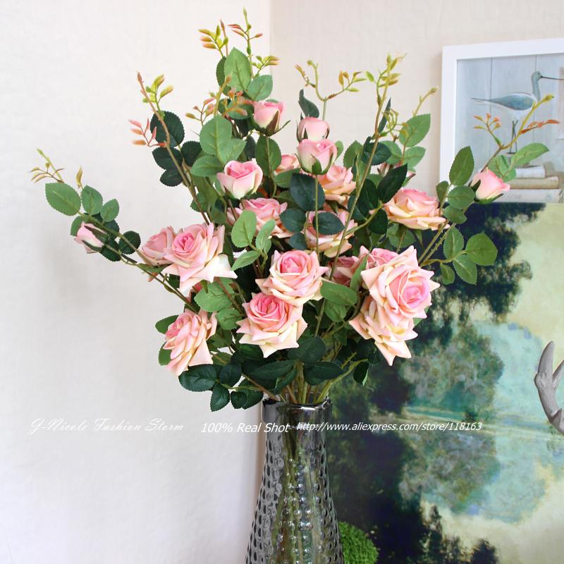 4pcs/lot Korean Artificial 3 Heads Flannelette Mini Rose Decorative Flowers Wedding Bridal Bouquet Home Party Decoration(China (Mainland))