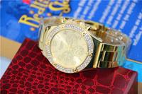 Fashion Golden Watches Stainless Steel Watch Women Dress rhinestone wristwatches Golden Quartz watches women