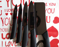 Free Shipping 2014 New Black Mirror Knife Sets Peeler, 3,4,5,6,6.5 inch Knives and 360 Rotatable Seven-piece Sets