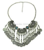 Bohemian Fringe Coin Collar Statement Necklace, Boho, Gypsy, Antalya, Ebony, Silver, Festival, Coachella, Turkish, India, Itor