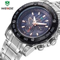 Men watches 2014 luxury brand name WEIDE 30m waterproof military watches calendar Japan quartz LED dress wristwatch dropship