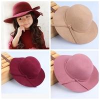 wholesale 2014 new Europe fashion for autumn winter kids childrens girls wide brim woolen hats caps girl's hat