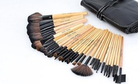 free shipping professional 32pcs makeup brush cosmetic brushes set kit with leather case wooden colour CZ022