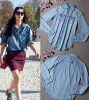 New arrival Retail European women Blouse girls long sleeve slim denim shirt elegant denim blouse jeans shirt lady elegant blusas