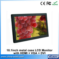 10 inch OEM metal cased desktop computer battery powered stand TFT video vga lcd monitor 12 volt DVI
