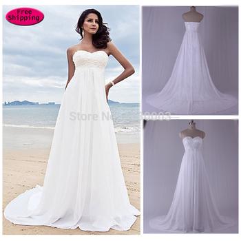 2015 бесплатная доставка невесты дешевые Vestido новый милая шнуровкой вышивка белый , босоножки , шлепанцы пляж свадебное платье китай свадебные платья