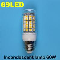 E27 69LEDS 5050SMD (=Incandescent lamp 60W)  LED Corn Bulb 220V - 240V  Warm white cold white LED Lights