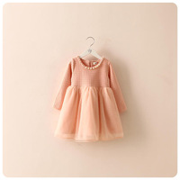 retail 2014 new autumn dress,chirdren girl lace beautiful lace dress,long sleeve children clothes girl's dress