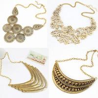 2014 Fashion Punk Gold Plated Vintage Pierced Flower Spike Choker Necklace Statement Colares Femininos women Retro Jewelry