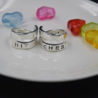 2014 NEW BEST BITCHES RING SET BFF Split Word and Match Rings Personalized Engrarve Aluminum Ring Besties BFF Wrap Rings