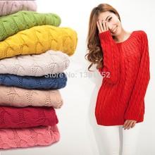 Winter pullover mujeres suéter, casual tejido de punto de punto para mujer suéteres, engrosamiento de manga larga jumpers mujer moda géneros de punto(China (Mainland))