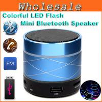 Mini USB Flash Disk Sound Card Multi-Function Bluetooth Speaker Colorful LED Portable Wileress Speaker FM Radio With Display B13
