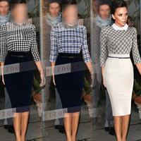 Celeb Plaid cool 2014 Winter New Fashion Women Slim Lace Empire Vintage Pencil Dress Bodycon Party Dresses Plus Size S-L 8001
