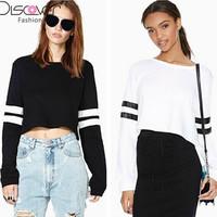 New 2015 Autumn Women Sweatshirt Hoody Patchwork Hoodies Fashion Women T Shirt Sport Suit Women Short Sweatshirt Plus Size