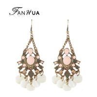 Pink Turkey Drop Earrings Boucles D'oreille Women Evening Earrings with Cute Created Pearl Pendant