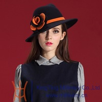Autumn and Winter Women Hats 2014 Modern Wool Felt Hat Natural 100% Wool with Big Rose Lace Elegant Amazing Woman Dresses