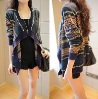 2014 Autumn Hot Sale Knit Bohemian Cardigan Female Fashion Loose  Sweater Coat Free Women Overcoat Outerwear Cardigans Shipping