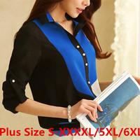 Fashion Women Tops Shirt S-XXXXL 5XL 6XL Plus Size Women Clothing Camisas Blusas Femininas Roupas Casual Chiffon Blouse Shirt