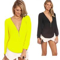 Hot Selling New 2014 Fashion Hollow Lace Blusas Summer Autumn Chiffon Women Blouse Shirt WF-657