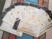 2014 newhot 12cards/set gold/silver tattoos stickers retail/metallic temporary/metal texture/safety and environmental protection