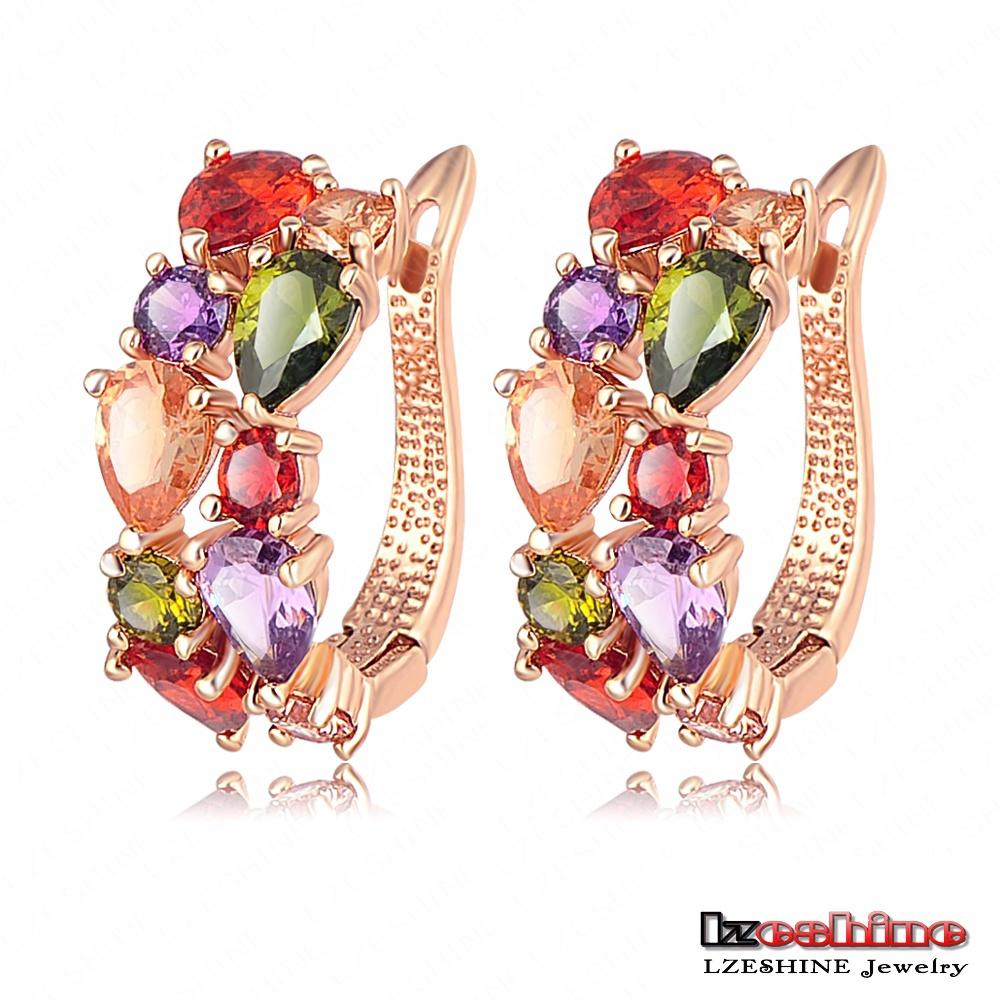 LZESHINE Brand Top Sale New Flower Earrings18K Rose Gold /Gold Plt Inlay Multicolor Cubic Zircon Stud Earrings For Women CER0143(