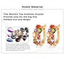 LZESHINE Brand Top Sale New Flower Earrings18K Rose Gold Gold Plt Inlay Multicolor Cubic Zircon Stud