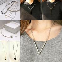 9 Styles New hot simple punk necklace metal bar, arrow,  triangle necklace & pendant for women colar de pingente collier
