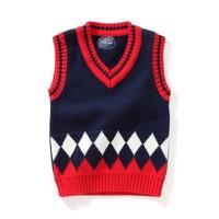 Baby Boy V-neck Sweater Vest Children sweatercoat Kids Knit Jacket Brand Brand waistcoat Outwear Winter Autumn Coat Clothes 1-3Y