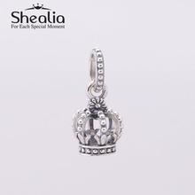 2014 new vintage women pendant crown dangle beads 925 sterling silver jewelry findings fit european charm bracelets diy