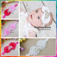 Infant pearl tiara crown headband baby hair bows elastic band baptism styling tools Toddler hair accessories #8W0036 10pcs/lot