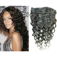 12''-26'' Brazilian loose wave clip in Virgin Brazilian Loose Wave Clip In Human Hair Extensions 7Pcs/Full Head Set Color #1B