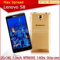 Lenovo Original Cell Phones MTK6592 Octa Core 1.4 GHz Mobile phone 5.3'' IPS Smartphone 2GB RAM 16GB ROM 13MP 3G GSM.WCDMA GPS