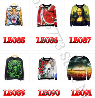 2014 New Arrival Free Shipping Printed Sweatshirt Winter Women Men Tracksuits 3d Sweatshirts Digital Printing Punk 125 Styles