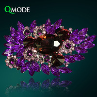 QMODE Fashion Luxury Palace Purple Brooch Full Crystal Leaves Queen Style Baroque Brooch for Wedding & Party Women