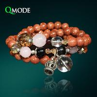 QMODE New Unique Design Golden Sand Bracelet Bohemia Style Natural Stones Crown Crystal Ball Multilayer Charm Bracelet
