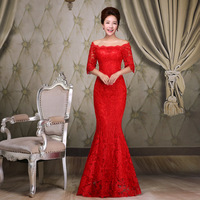 Red Evening Dresses 2015 Hot Sell Winter Wedding Party Dress Plus Size Lace Long Mermaid Prom Dress Mother Of The Birde Dresses