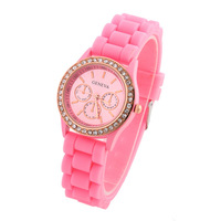 1 PCS Hot Fashion Watches12 Colors Lovely Silicone Round Alloy Women Wristwatches PU Band New Promotion