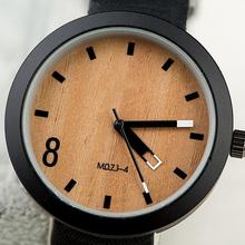 Fashion Black Matte Leather Band Watch For Women Girl Men Wood grain Wristwatch Unisex Factory Outlets