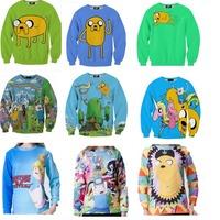 Women Brand New 2015 Fashion Adventure Time Print Women Hoodies Cartoon Female SWEATSHIRT Pullovers Cotton Drop Shipping W00436